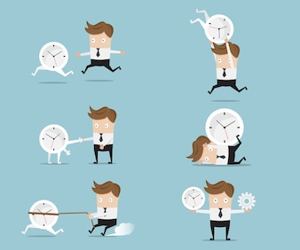 Set of businessman cartoon with clock