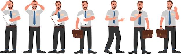 Набор символов бизнесмена, изолированные на белом