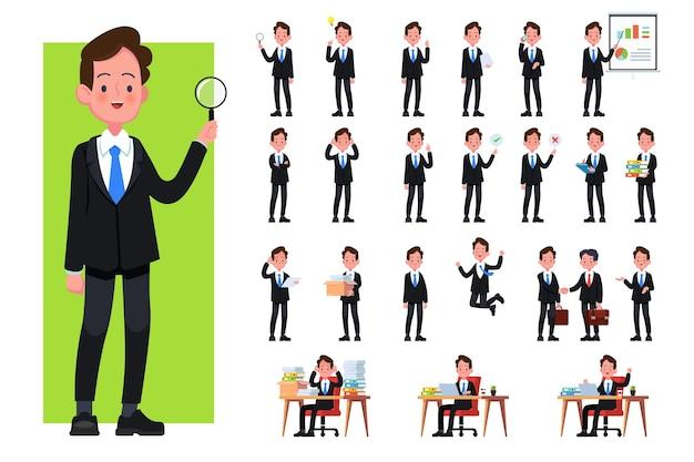 Набор позы персонажей бизнесмена, жесты и действия. офисный работник профессионально стоит, гуляет, разговаривает по телефону, работает, прыгает, ищет и многое другое.