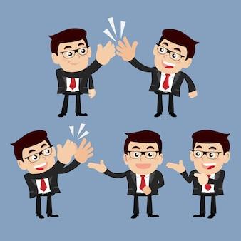 さまざまなポーズのビジネスマンのキャラクターのセット