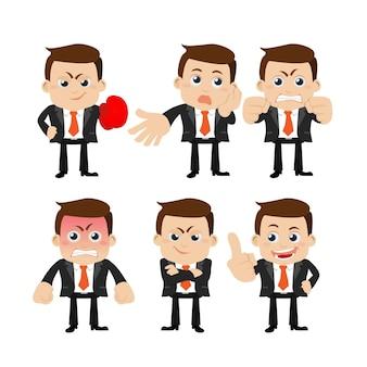 Набор персонажей бизнесмена в разных позах