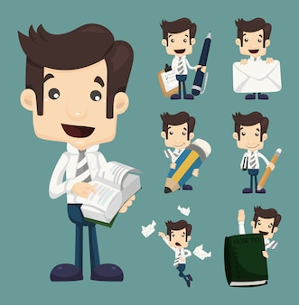 ビジネスマン、キャラクター、セット、オフィス、労働者