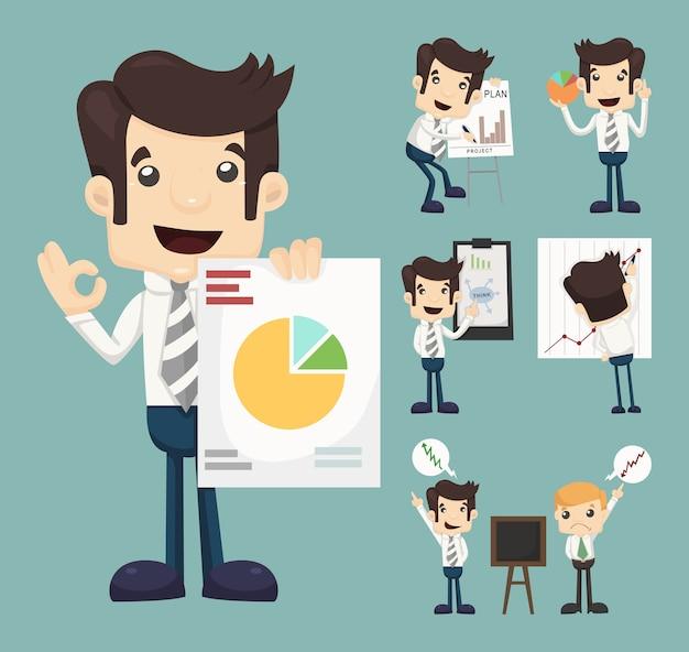 ビジネスキャラクターのプレゼンテーショングラフのセット