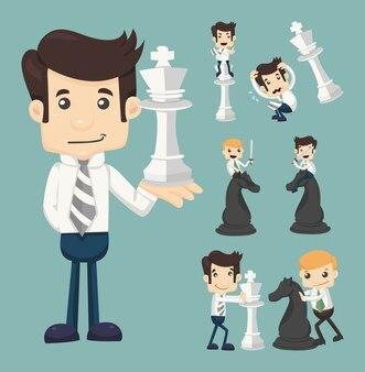 チェスをして戦うビジネスマンのセット