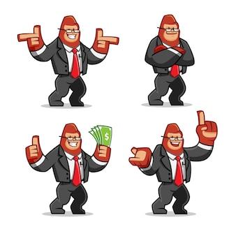 Набор эмблемы бизнесмена gorilla