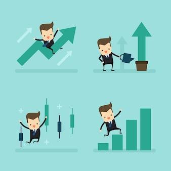 ビジネスコンセプトのビジネスマンの成長のセット