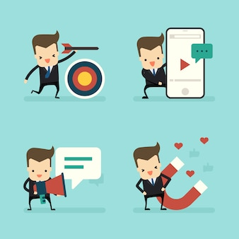 Комплект бизнесмена в концепции маркетинга
