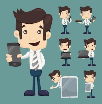 ビジネスマン、ショー、タブレット、スマートフォン、キャラクター、ポーズ