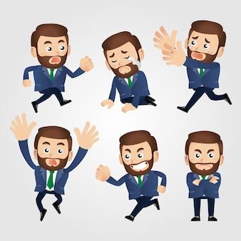 Набор бизнесмена с разными эмоциями