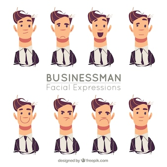 顔の表情を持つビジネスマンのセット