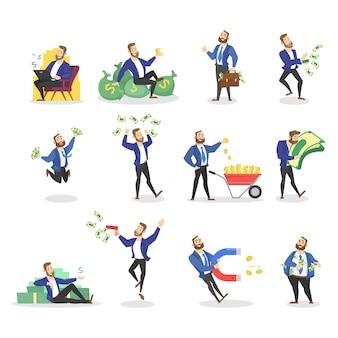 Набор бизнесмена с деньгами. счастливый успешный человек прыгает с кучей денег, сидит на банкнотах и обнимает наличные. финансовое благополучие.