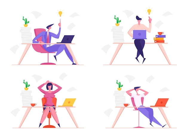 Набор бизнесменов и деловых женщин на работе