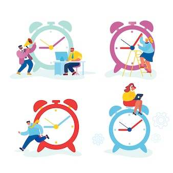 Набор бизнесменов и огромных часов.
