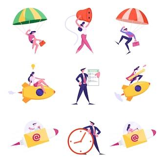Набор бизнесменов, прыгающих с парашютом