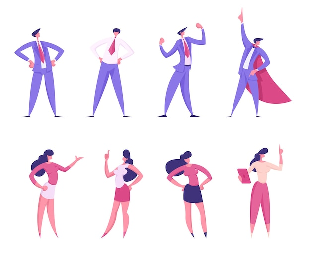 Набор деловых людей мужского и женского пола персонажей