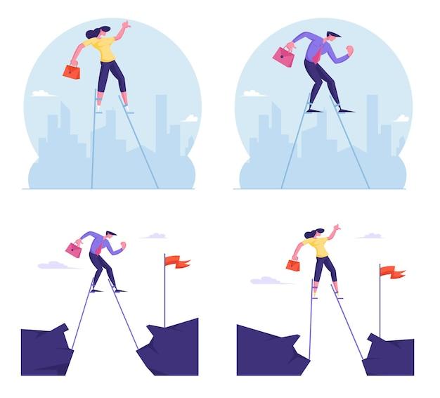 高床式の深淵を越える障害を克服するビジネスマンのセット
