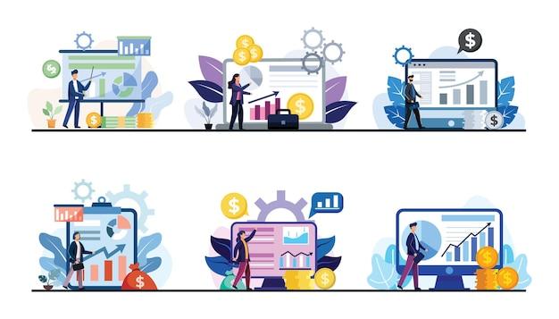 漫画のキャラクター、デザインフラットイラスト、ビジネスファイナンスの概念でデータグラフと財務諸表を扱うビジネスマンのセット