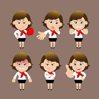 Набор персонажей бизнес-леди в разных позах