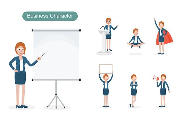 Набор бизнес-леди в разных позициях