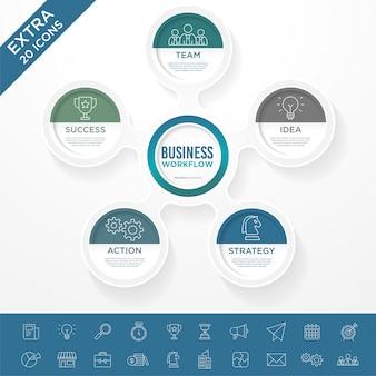 Bussiness infographicテンプレートのセット