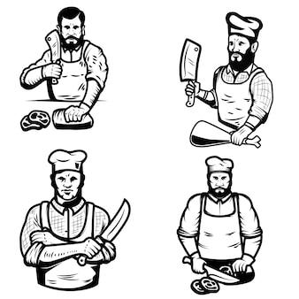 白い背景の上の肉屋のイラストのセットです。ロゴ、ラベル、エンブレム、記号の要素。図