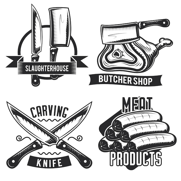 Набор эмблем, этикеток, значков, логотипов мясника.