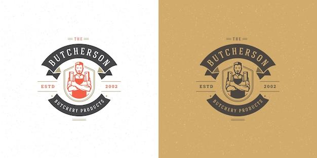 Набор логотипов мясной лавки или ресторана