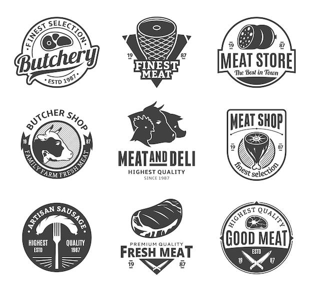 肉屋の黒と白のロゴのセット