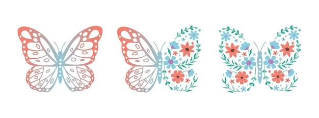 花と蝶のセット白い背景の上のベクトル蝶アイコンスパサロンの概念