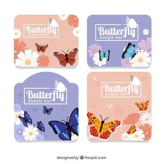 蝶装飾的なステッカーのセット