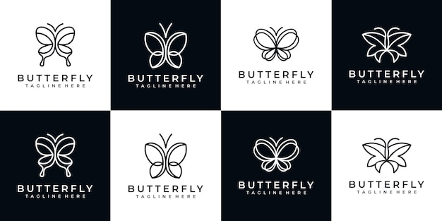 蝶のミニマリストのロゴのデザインのセット