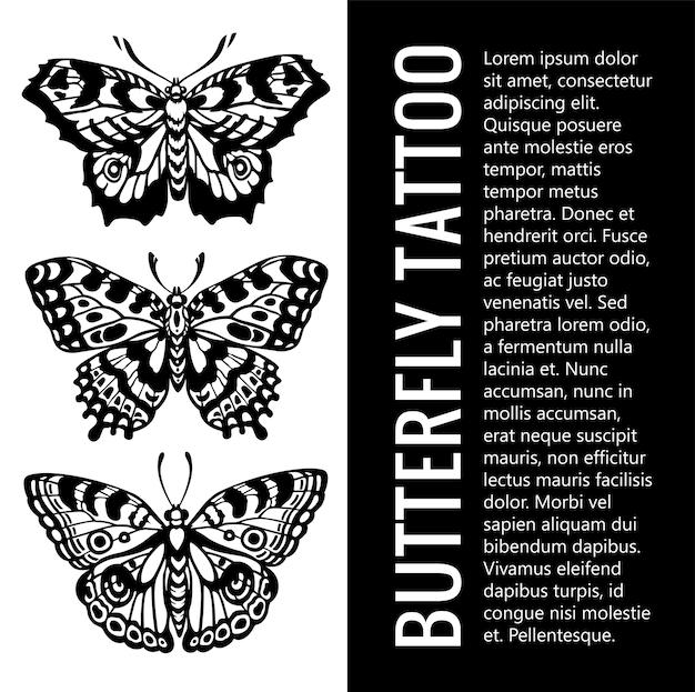 Набор силуэтов бабочки. тату бабочка. тропические бабочки. мистический символ прекрасного. винтажная иллюстрация