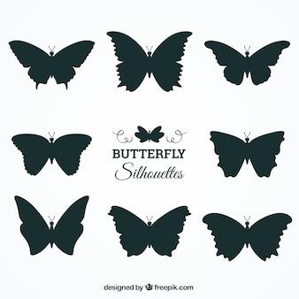 다양 한 디자인으로 나비 실루엣의 집합