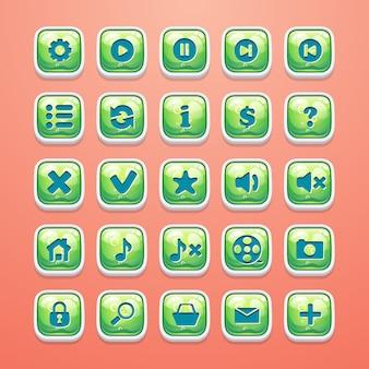 華やかなゲームインターフェイスとwebデザインのボタンのセット