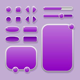 Набор кнопок разной формы, окон и индикаторов выполнения для оформления пользовательского интерфейса
