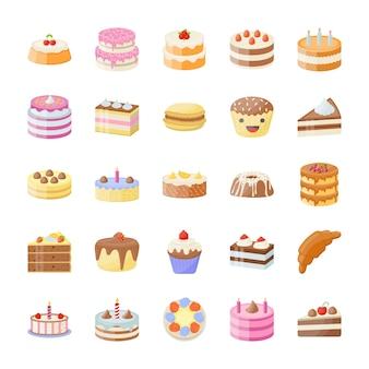 Набор тортов плоских векторных иконок