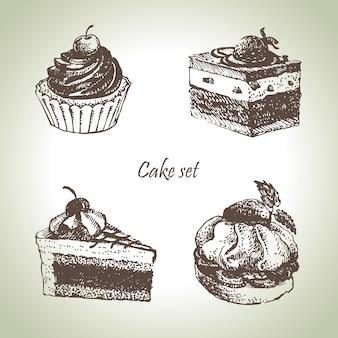 케이크 세트입니다. 손으로 그린 삽화