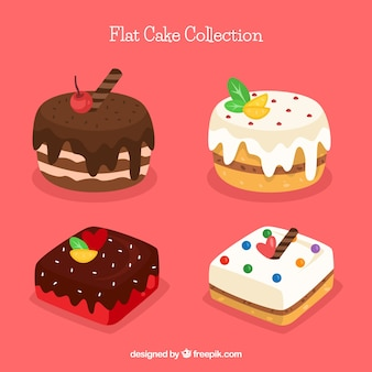 フラットスタイルのケーキのセット