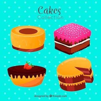 Набор тортов в плоском стиле