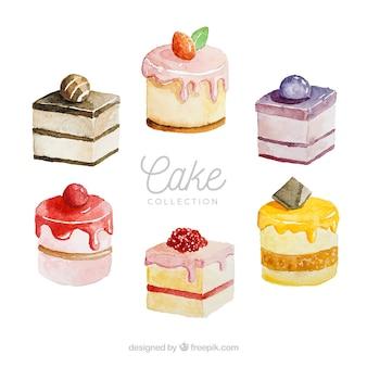 수채화 스타일에서 케이크 세트