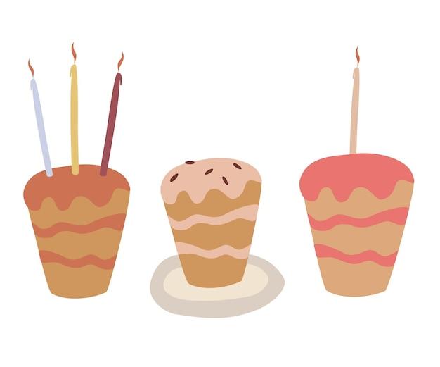 기념일 장식을 위한 평면 스타일의 촛불 휴일 요리 아이콘이 있는 케이크 세트