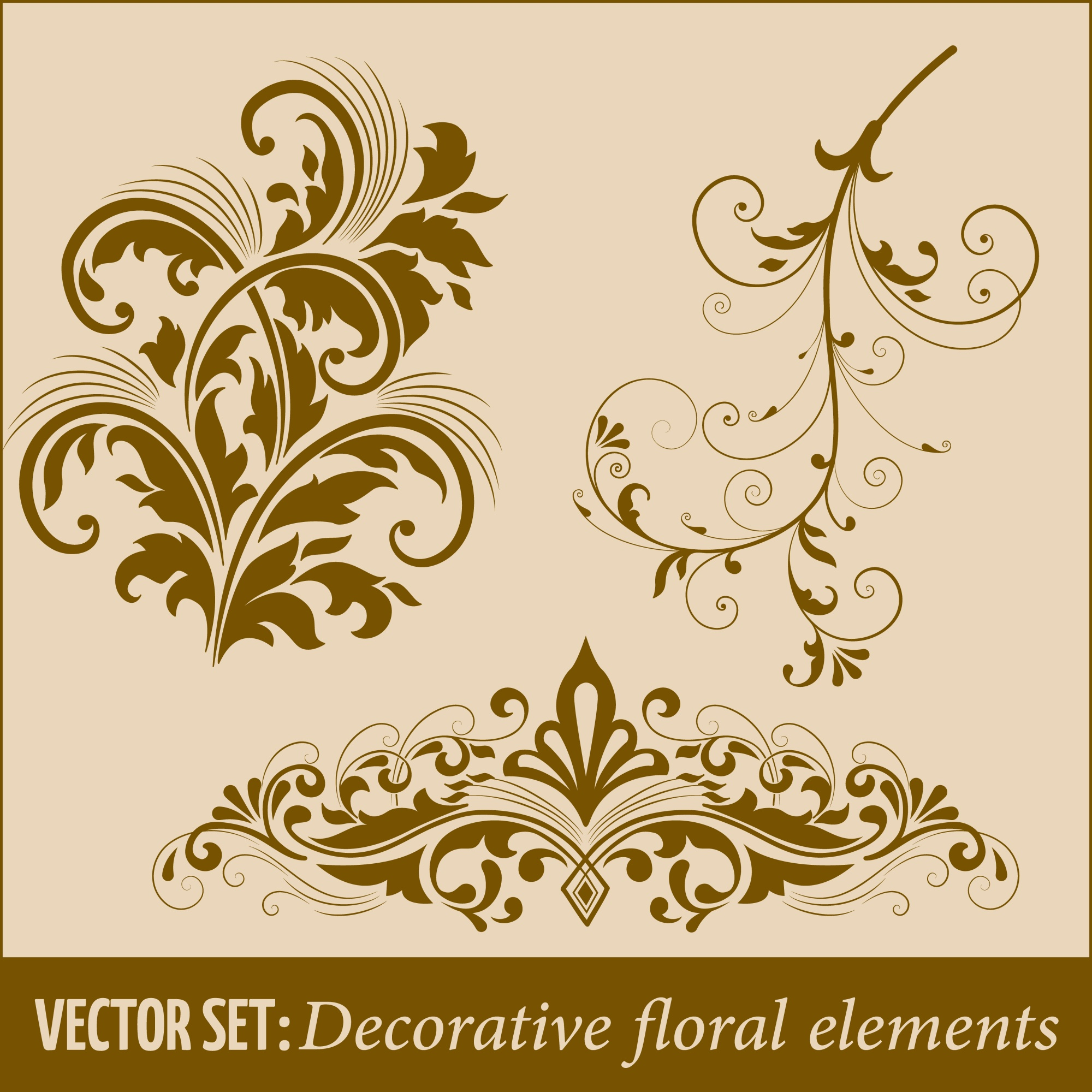 Set of calligraphic and page decoration design elements