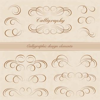 붓글씨 디자인 요소의 집합입니다. 페이지 장식