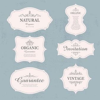 Набор каллиграфических старинных этикеток и элементов дизайна рамок