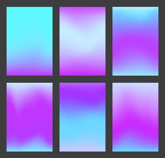 진정 파란색과 보라색 그라데이션 ui 배경 세트