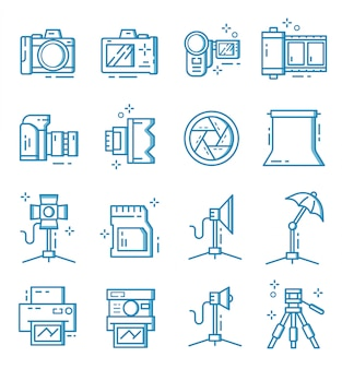 アウトラインスタイルのカメラと写真家の機器アイコンのセット