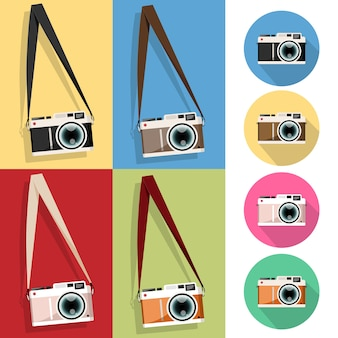 Set of Camera vintage hanging on a screw icon, Flat style Camera vintage