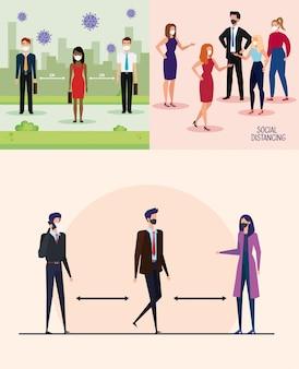 Набор социальной кампании дистанцирования в офисе с бизнесменами дизайн векторной иллюстрации