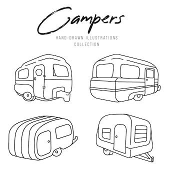 Набор иллюстрации кемпер, летний лагерь, поездка.