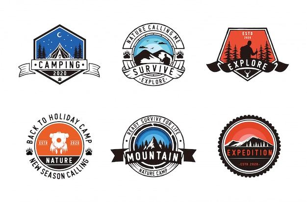 キャンプとアウトドアのロゴのセット